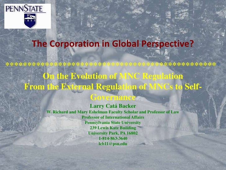 The Corporation in Global Perspective?*************************************************         On the Evolution of MNC Re...