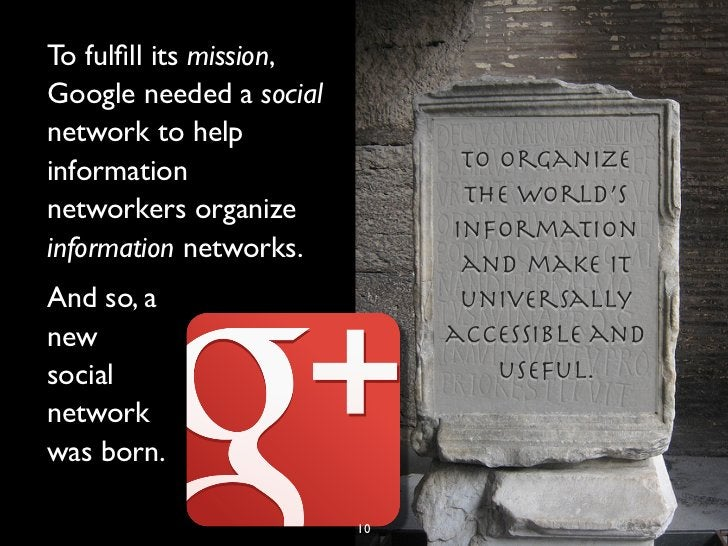 To fulfill its mission,Google needed a socialnetwork to helpinformation                    to organize                     ...