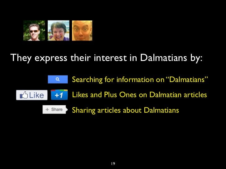 """They express their interest in Dalmatians by:              Searching for information on """"Dalmatians""""              Likes an..."""