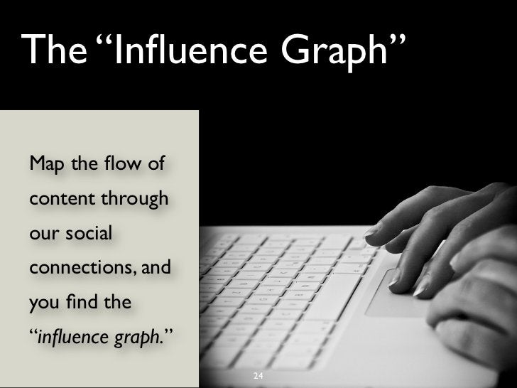 """The """"Influence Graph""""Map the flow ofcontent throughour socialconnections, andyou find the""""influence graph.""""                   ..."""