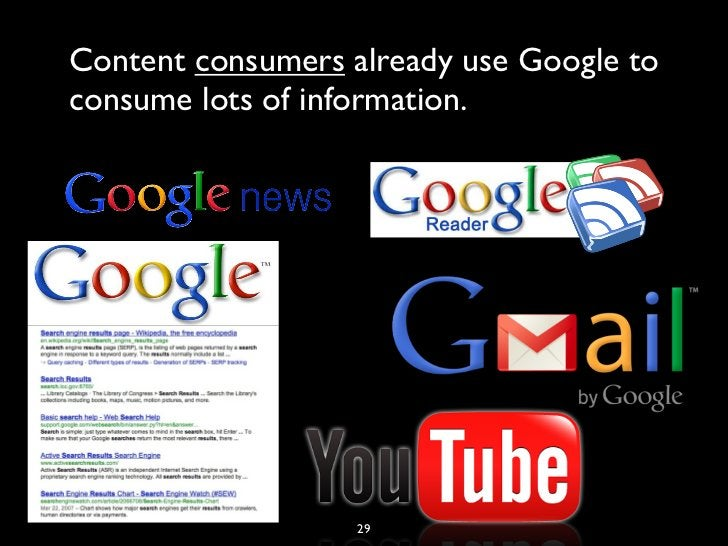 Content consumers already use Google toconsume lots of information.                   29