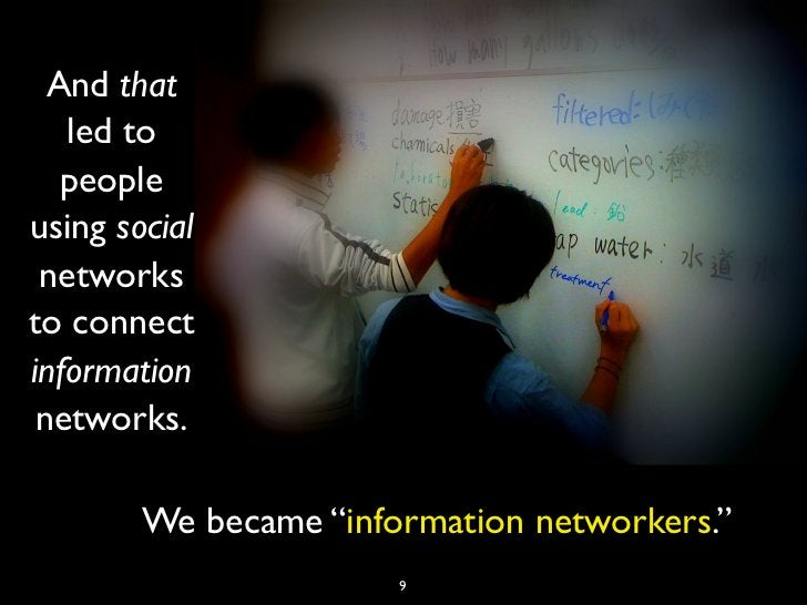 """And that   led to   peopleusing social networksto connectinformation networks.        We became """"information networkers."""" ..."""