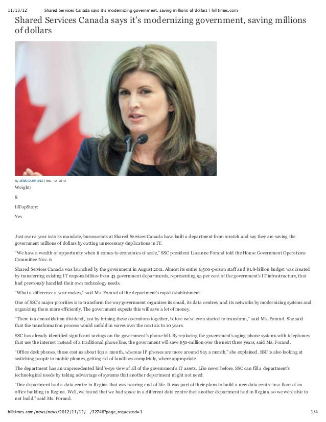 11/13/12             Shared Services Canada says it's modernizing government, saving millions of dollars | hilltimes.com  ...