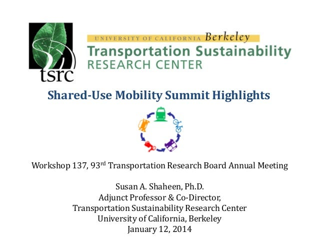 Shared-Use Mobility Summit Highlights  Workshop 137, 93rd Transportation Research Board Annual Meeting Susan A. Shaheen, P...