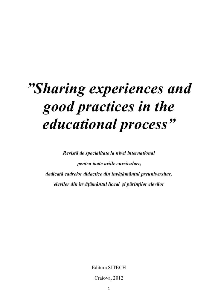 """Sharing experiences and  good practices in the  educational process""          Revistă de specialitate la nivel internatio..."