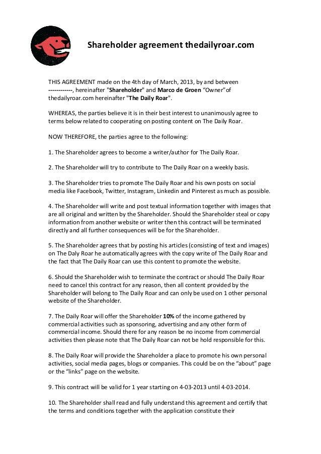 Shareholder Agreement Thedailyroar