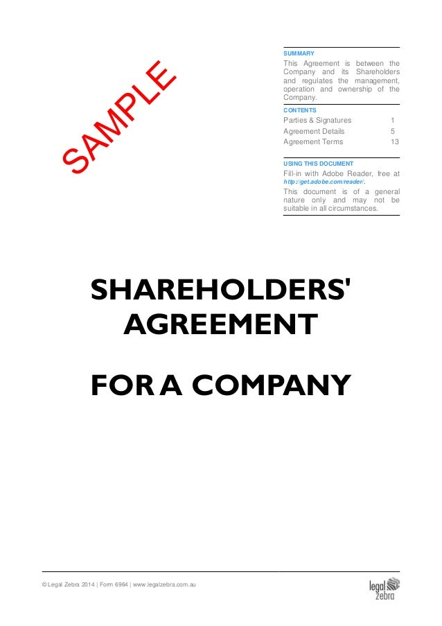 Shareholders Agreement For An Australian Company Template Sample