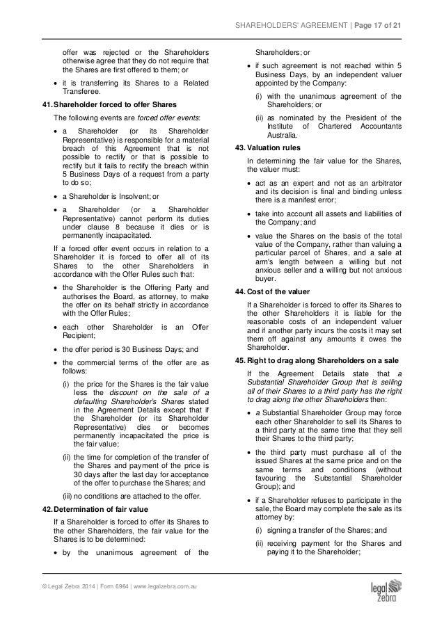 Shareholders Agreement for an Australian Company Template - Sample