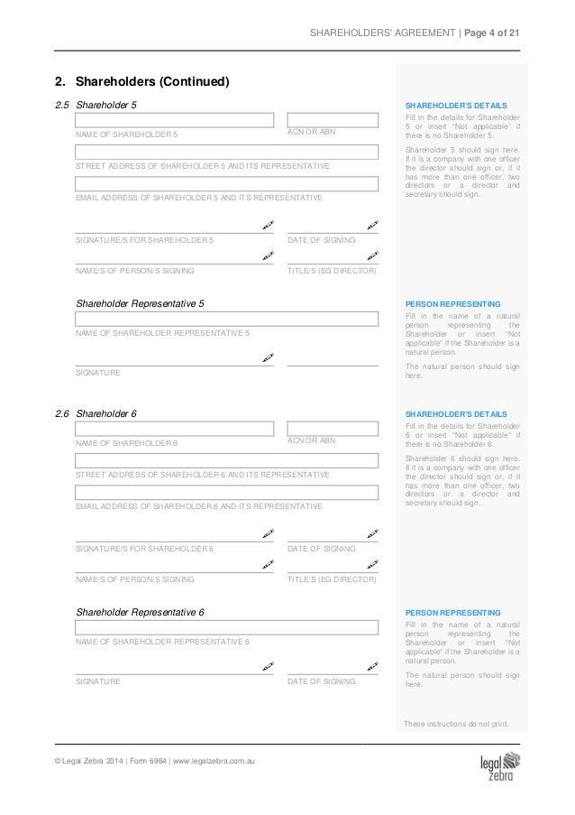 shareholders agreement for an australian company template sample