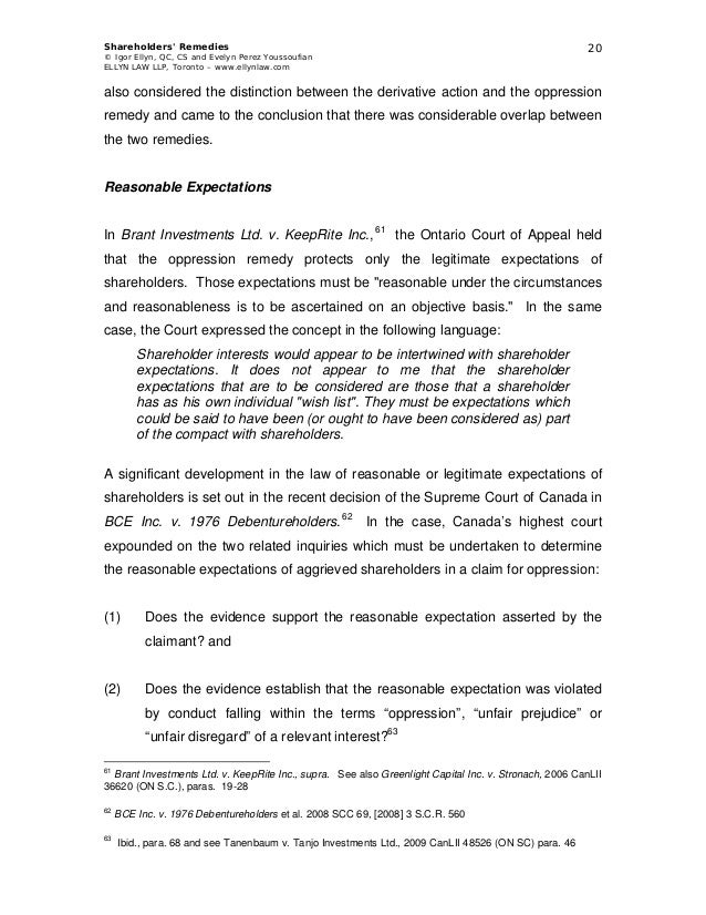 Oppression remedy vs derivative action essay