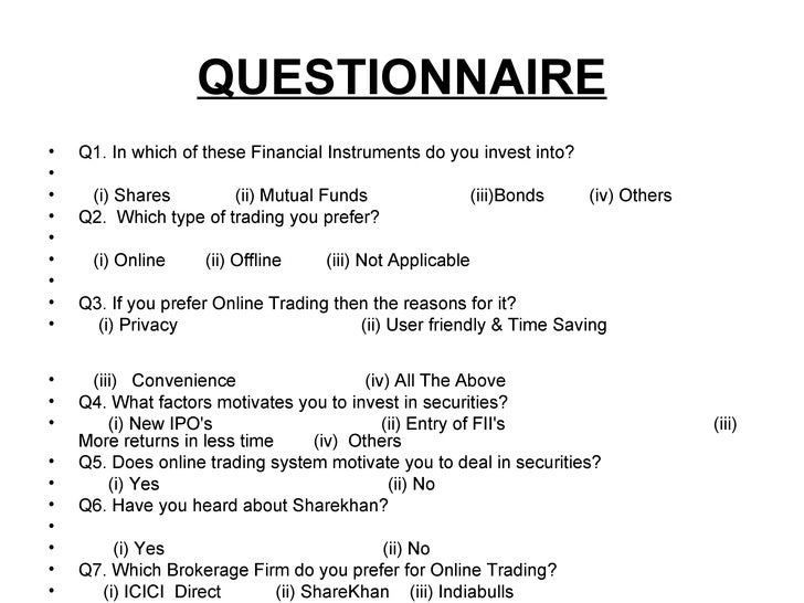 questionnaire sample for investors