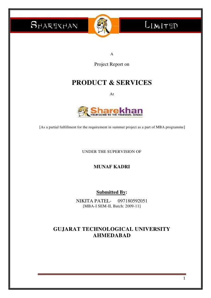 A<br />Project Report on<br />PRODUCT & SERVICES<br />At<br /> [As a partial fulfillment for the requirement in summer pro...