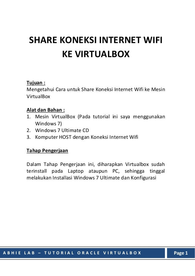 Share Koneksi Internet Wifi ke Mesin Virtualbox di Windows