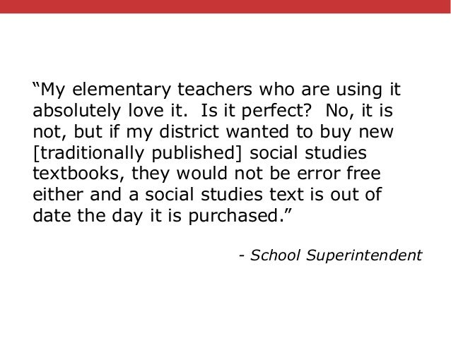 """@txtbks   #oer16 """"My elementary teachers who are using it absolutely love it. Is it perfect? No, it is not, but if my dist..."""