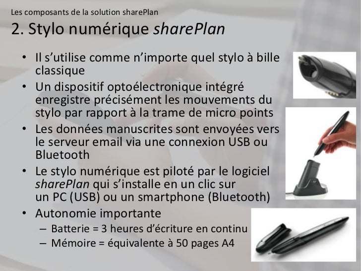 Les composants de la solution sharePlan2. Stylo numérique sharePlan  • Il s'utilise comme n'importe quel stylo à bille    ...