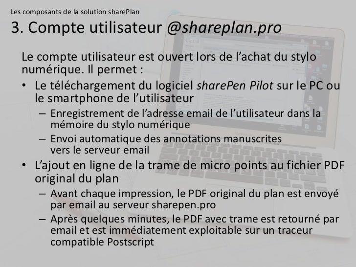 Les composants de la solution sharePlan3. Compte utilisateur @shareplan.pro   Le compte utilisateur est ouvert lors de l'a...