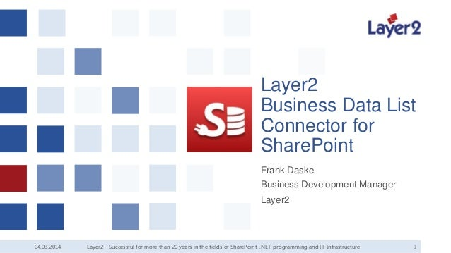 Layer2 Business Data List Connector for SharePoint Frank Daske Business Development Manager Layer2  04.03.2014  Layer2 – S...