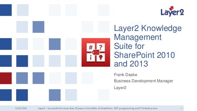 Layer2 Knowledge Management Suite for SharePoint 2010 and 2013 Frank Daske Business Development Manager Layer2  12.02.2014...