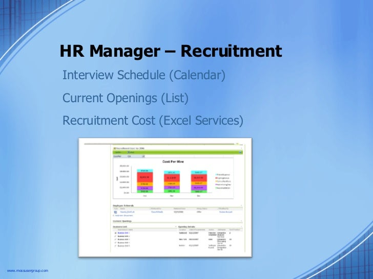 HR Manager – Recruitment  Interview Schedule (Calendar) Current Openings (List) Recruitment Cost (Excel Services) www.moss...