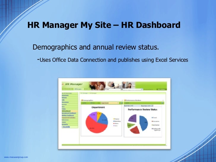 HR Manager My Site – HR Dashboard Demographics and annual review status.  - Uses Office Data Connection and publishes usin...
