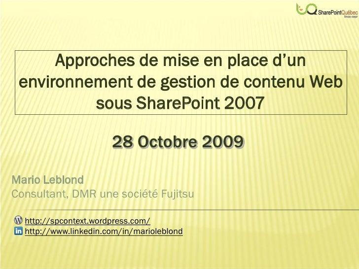 Approches de mise en place d'un  environnement de gestion de contenu Web            sous SharePoint 2007                  ...
