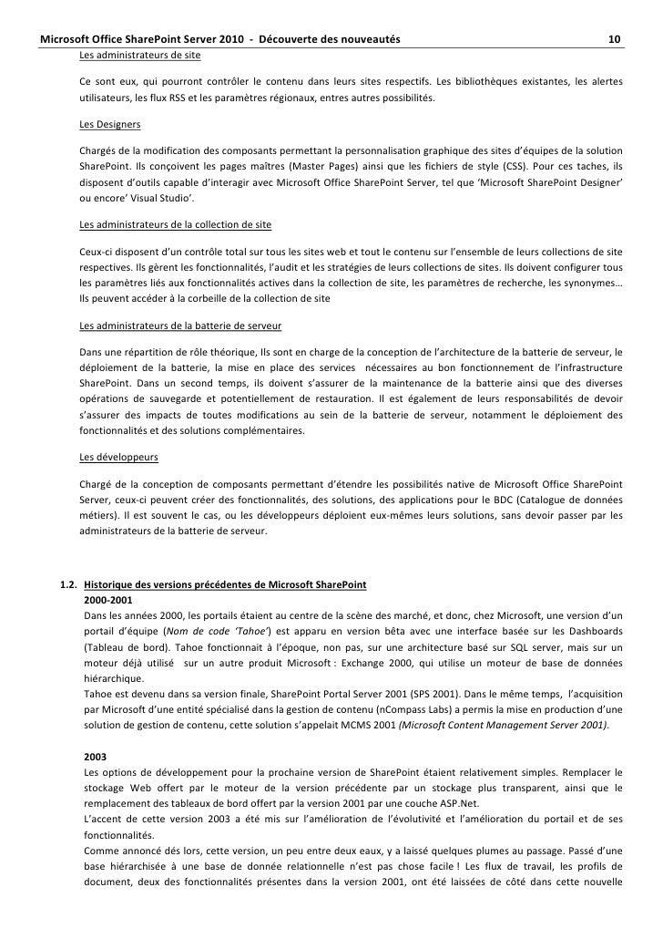 MicrosoftOfficeSharePointServer2010‐Découvertedesnouveautés...