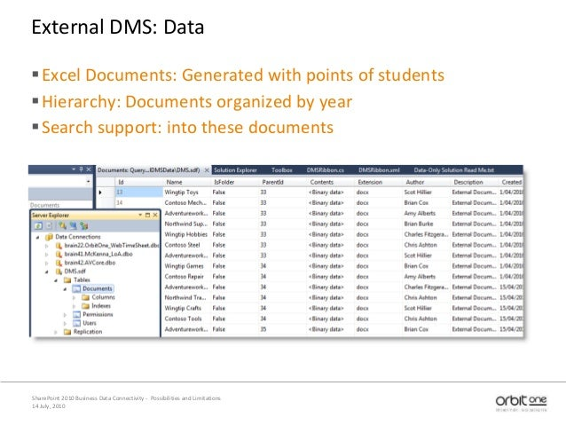 14 July, 2010 SharePoint 2010 Business Data Connectivity - Possibilities and Limitations External DMS: Data Excel Documen...