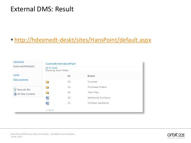 14 July, 2010 SharePoint 2010 Business Data Connectivity - Possibilities and Limitations External DMS: Result http://hdes...
