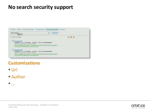 14 July, 2010 SharePoint 2010 Business Data Connectivity - Possibilities and Limitations No search security support Custom...