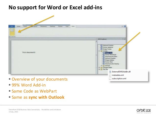 14 July, 2010 SharePoint 2010 Business Data Connectivity - Possibilities and Limitations No support for Word or Excel add-...