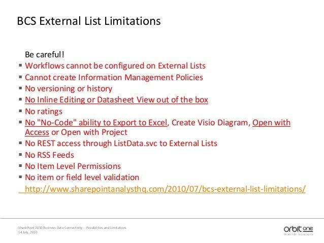 BCS External List Limitations Be careful!  Workflows cannot be configured on External Lists  Cannot create Information M...