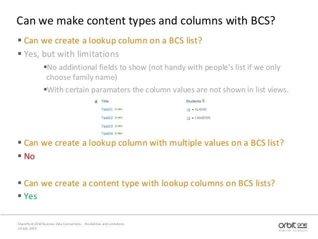Can we make content types and columns with BCS?  Can we create a lookup column on a BCS list?  Yes, but with limitations...