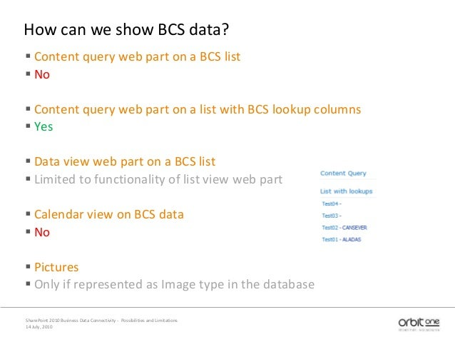 How can we show BCS data?  Content query web part on a BCS list  No  Content query web part on a list with BCS lookup c...