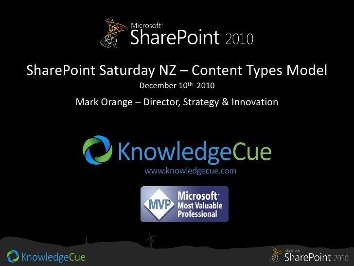 SharePoint Saturday NZ – Content Types Model                     December 10th 2010       Mark Orange – Director, Strategy...