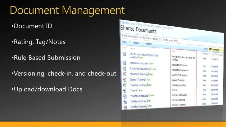 Document Management <br /><ul><li>Document ID