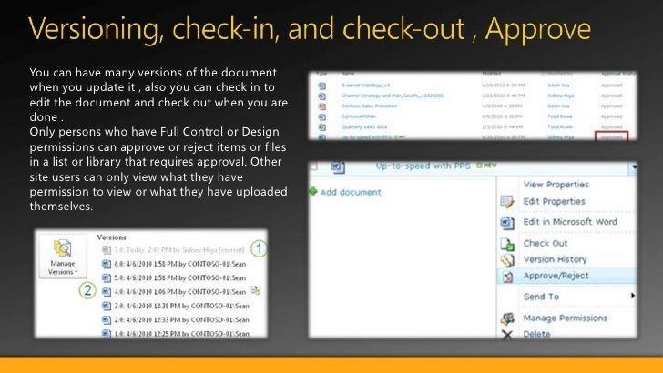 Upload/download Docs </li></li></ul><li>Document ID<br />Each document in the Site Collection will get their unique docume...