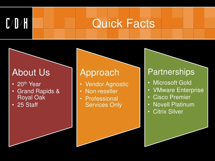 CDH                    Quick Facts    About Us           Approach            Partnerships • 20th Year        • Vendor Agno...