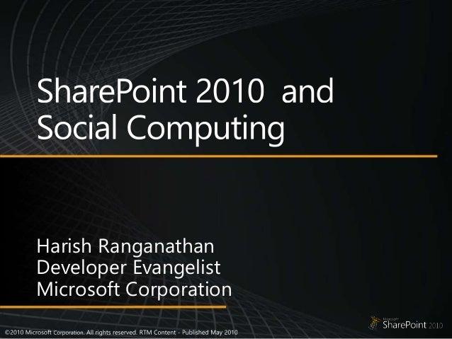 Harish Ranganathan Developer Evangelist Microsoft Corporation