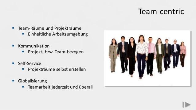 Team-centric  Team-Räume und Projekträume  Einheitliche Arbeitsumgebung  Kommunikation  Projekt- bzw. Team-bezogen  S...