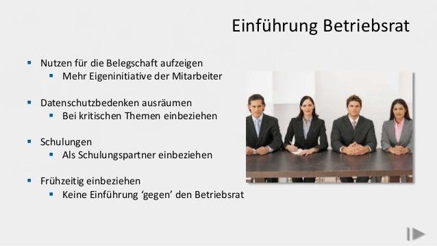 Einführung Betriebsrat  Nutzen für die Belegschaft aufzeigen  Mehr Eigeninitiative der Mitarbeiter  Datenschutzbedenken...