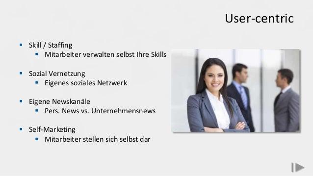 User-centric  Skill / Staffing  Mitarbeiter verwalten selbst Ihre Skills  Sozial Vernetzung  Eigenes soziales Netzwerk...