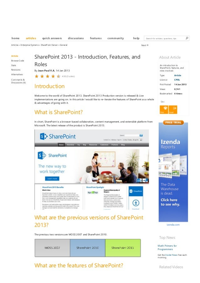 20/05/2013 SharePoint 2013 - Introduction, Features, and Roles - CodeProject www.codeproject.com/Articles/527628/SharePoin...
