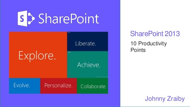 SharePoint 2013 10 Productivity Points Johnny Zraiby