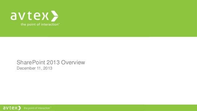 SharePoint 2013 Overview December 11, 2013