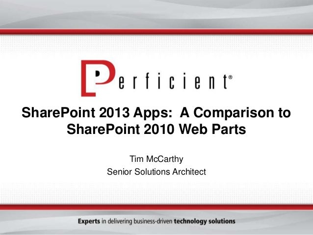 SharePoint 2013 Apps: A Comparison toSharePoint 2010 Web PartsTim McCarthySenior Solutions Architect