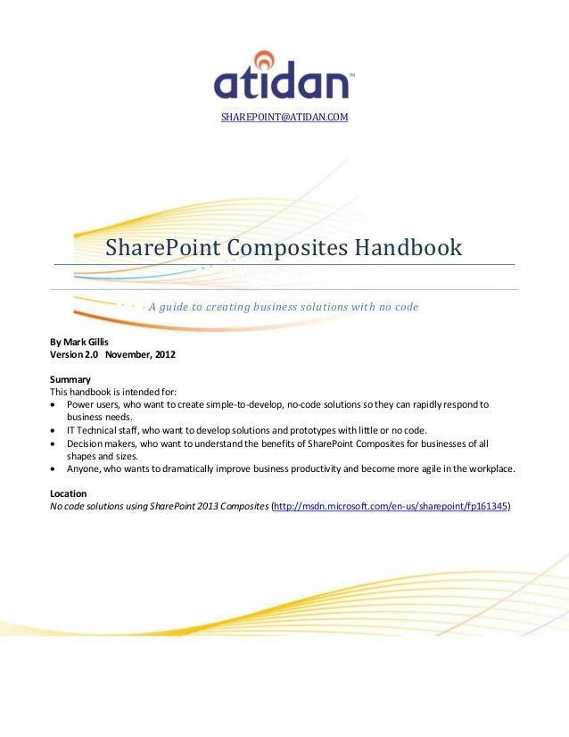 SHAREPOINT@ATIDAN.COM            SharePoint Composites Handbook                      A guide to creating business solution...