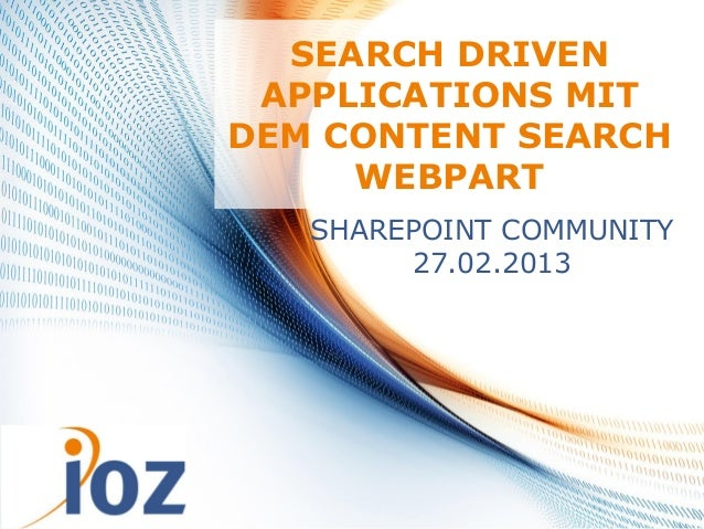 SEARCH DRIVEN              APPLICATIONS MIT             DEM CONTENT SEARCH                  WEBPART                SHAREPO...