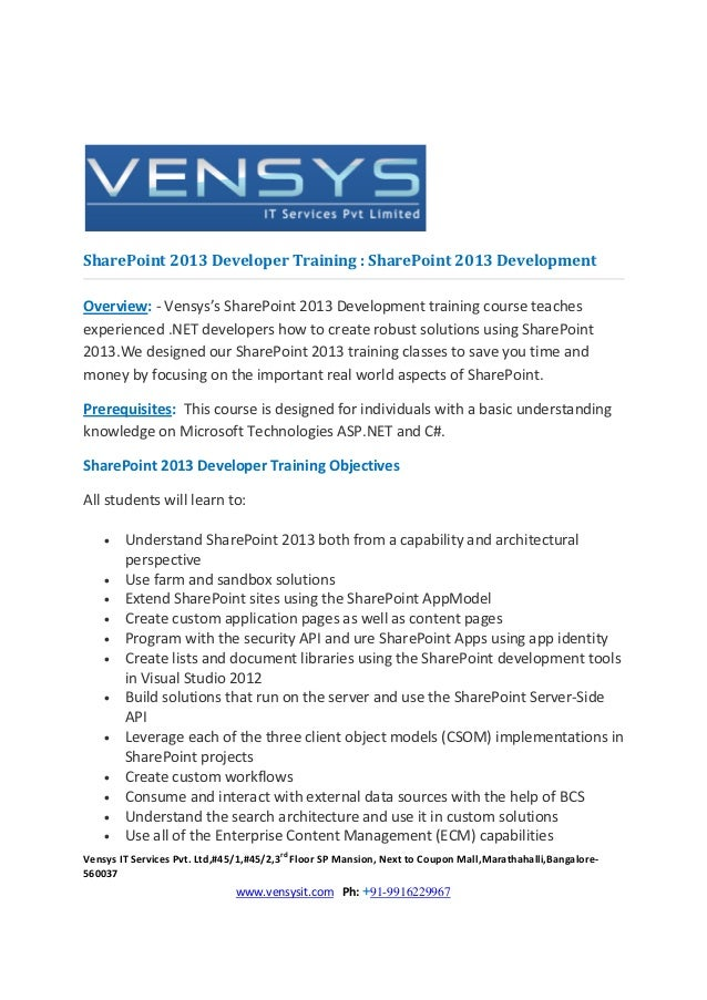 SharePoint 2013 Developer Training : SharePoint 2013 DevelopmentOverview: - Vensys's SharePoint 2013 Development training ...