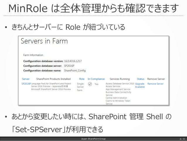 MinRole は全体管理からも確認できます • きちんとサーバーに Role が紐づいている • あとから変更したい時には、SharePoint 管理 Shell の 「Set-SPServer」が利用できる Japan SharePoint...