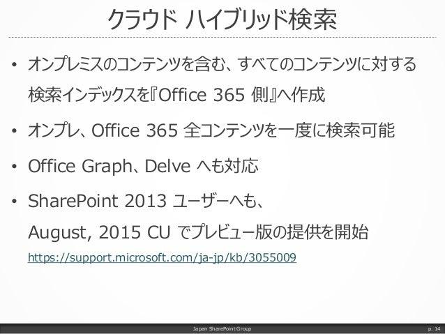 クラウド ハイブリッド検索 • オンプレミスのコンテンツを含む、すべてのコンテンツに対する 検索インデックスを『Office 365 側』へ作成 • オンプレ、Office 365 全コンテンツを一度に検索可能 • Office Graph、D...
